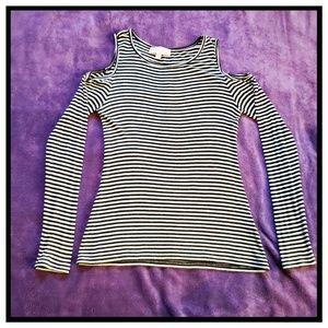Cold shoulder, striped, long sleeve shirt